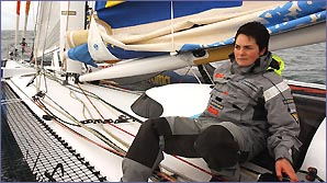 Ellen MacArthur on a boat