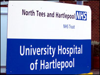 Hartlepool hospital sign