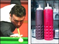Jimmy White and sauce bottles