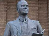 Reginald Mitchell's statue outside the City Museum in Hanley, Stoke-on-Trent