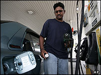 Man filling his car with petrol