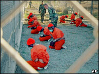 Prisoners at Guantanamo US camp, Cuba
