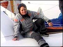 Ellen MacArthur relaxes on board her boat on Tuesday morning