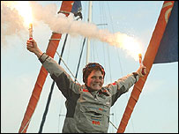 Ellen MacArthur celebrates her round-the-world sailing record after arriving back in Falmouth on board her boat B&Q
