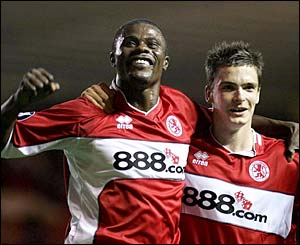 Middlesbrough's George Boateng celebrates with team-mate Adam Johnson