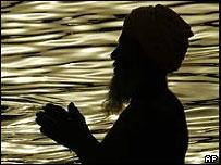 A Sikh man at prayer