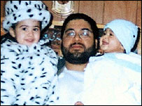 Shaker Aamer with daughter Johina and son Michel