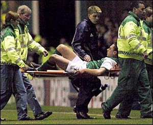 Hibernian's Scott Brown is stretchered off against Dnipro