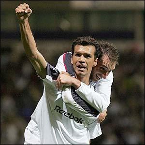 Bolton's Jared Borgetti celebrates his goal