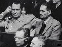 Hermann Goering (left) and Rudolph Hess at the Nuremberg trials