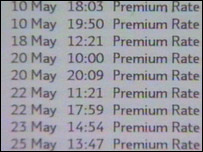 Telephone bill showing premium rate numbers
