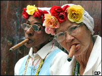 Cuban women smoking cigars