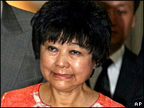 Nina Wang appears in court on charges of forging the will of late husband Teddy Wang, in Hong Kong on April 22, 2005.