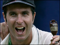 Michael Vaughan with a replica of the Ashes trophy