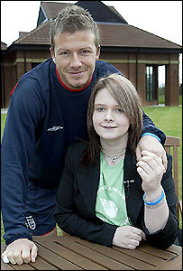 David Beckham and schoolgirl Jess Sparrow