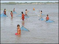 Women and children using nets to catch prawns