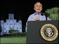 President George W Bush addresses nation from Jackson Square, New Orleans