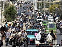 Palestinian crowds in Rafah
