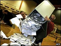 Ballot box is emptied in the Danish town of Fredericia