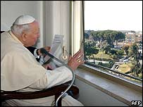 Pope at his hospital window on Sunday