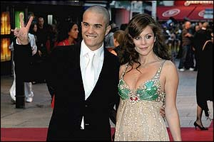 The stars of Goal Kuno Becker and Anna Friel greet the crowds in Leicester Square