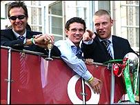Michael Vaughan, Gary Pratt and Andrew Flintoff