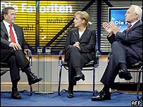 German leaders (SPD, CDU, CSU - left to right) in TV debate