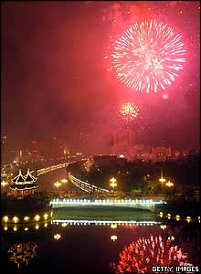 Fireworks over Chengdu, Sichuan Province, China