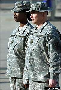 US soldiers model the new Army Combat Uniform in Georgia, USA