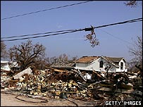 A row of houses in Biloxi, Mississippi, destroyed by Hurricane Katrina