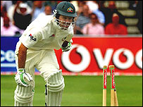 Ricky Ponting is run out at Trent Bridge