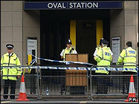 Police at Oval station