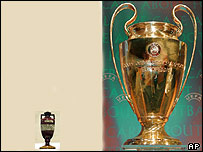 The Ashes urn and the UEFA Champions League trophy