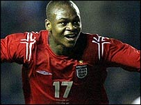 Leroy Lita celebrates his England U-21 goal