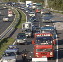 Fuel price protest convoy as it moves eastwards on the M4 Motorway near Swansea