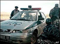 A bullet-riddled police car in Dagestan after an attack in which a number of policemen were killed