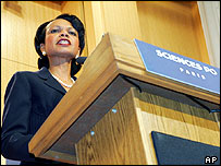Condoleezza Rice speaking at the Institute of Political Sciences in Paris