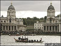 The flotilla leaving Greenwich