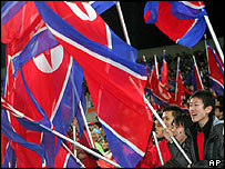 Ethnic Koreans resident in Japan wave North Korean flags at Saitama stadium, 9/2/05