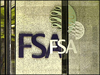 Financial Services Authority (FSA) logo on FSA building