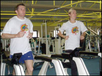 Jonathan Davies and wife Helen in the gym