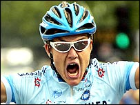 German Heinrich Haussler celebrates winning the 19th stage