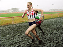 Paula Radcliffe in action during a cross country race featuring lots of thick mud
