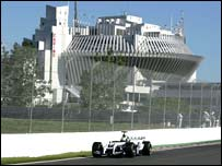 The Canadian Grand Prix is held on an island in the St Lawrence Seaway, and the track loops around the futuristic buildings erected for Expo '67
