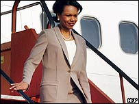 US Secretary of State Condoleezza Rice arrives in Brussels