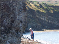 Visitor at Kimmeridge Bay