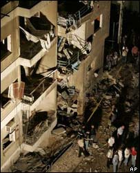 Scene of a bomb explosion in Beirut