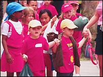 Multi-racial group of school children