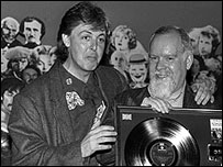 Sir Paul McCartney (left) with Sir Peter Blake (right)