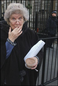 Patricia Tabram tastes cannabis outside Downing Street